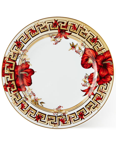 Versace Christmas Blooms Dinner Plate