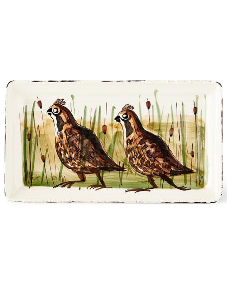Vietri Wildlife Quail Rectangular Platter