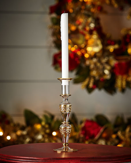 Gold & Glitter Collection Glass Candlestick, Small