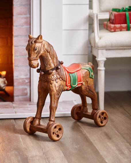 Hand-Carved Wooden Carousel Horse