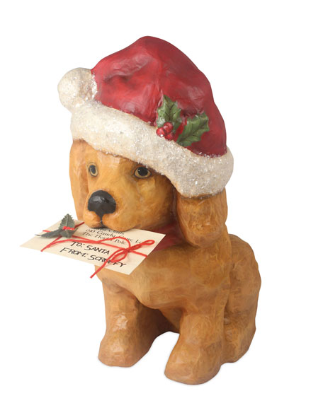 Bethany Lowe Santa Paws Puppy Statuette, Large