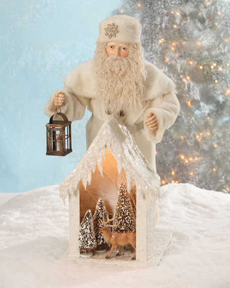 Bethany Lowe German Santa with Snow House