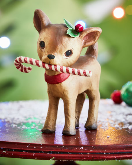 Bethany Lowe Little Retro Reindeer with Candy Cane