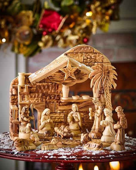 Bethlehem Star Olive Wood Nativity, 12 Piece