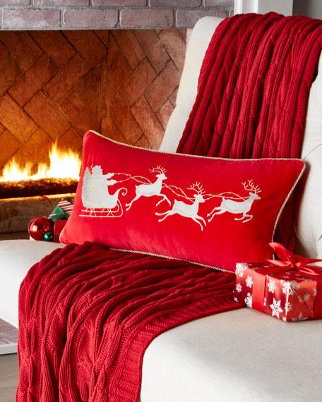 C & F Enterprises Red Velvet Pillow, Santa