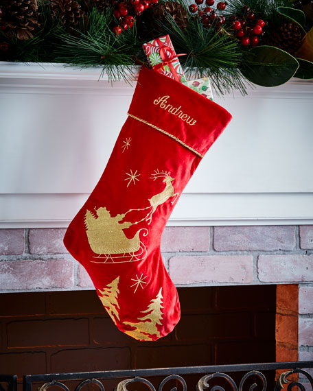 Santa's Sleigh Velvet Stocking