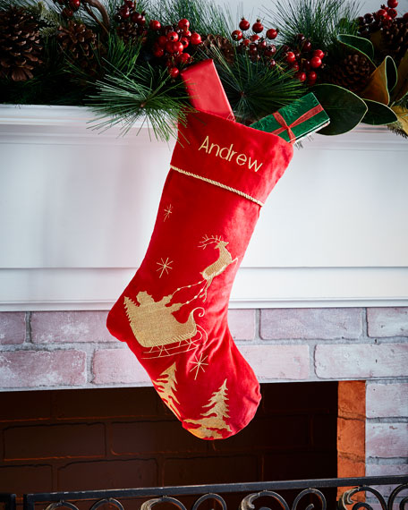 C & F Enterprises Santa's Sleigh Velvet Stocking