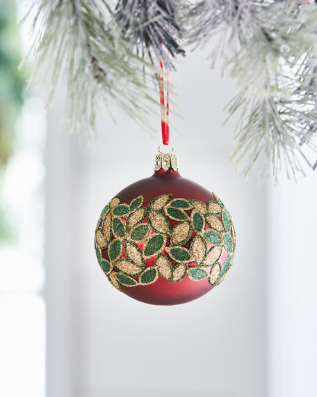 Red & Green Collection Matte Dark Red/Glitter Leaves Ornament