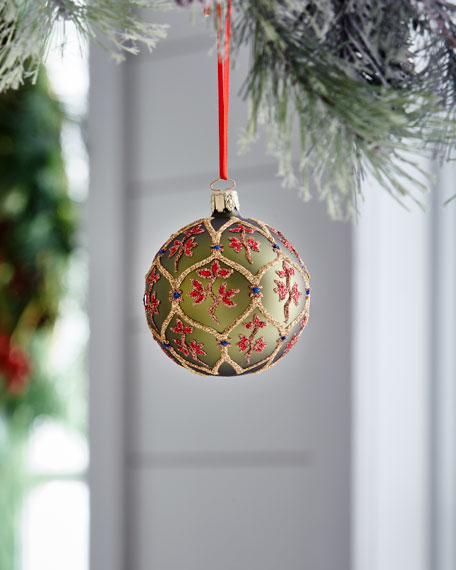 Red & Green Collection Matte Olive/Red Flowers Ornament
