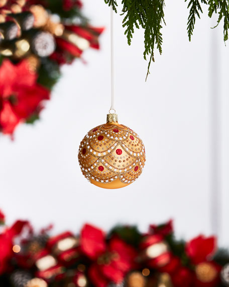 Gold & Glitter Collection Matte Golden/Scallops/Dots Ornament