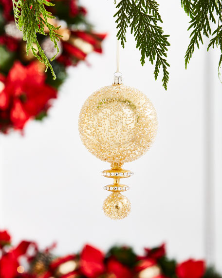Gold & Glitter Collection Golden Double-Ball Finial Ornament