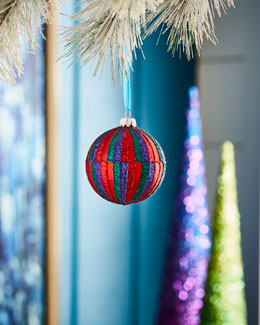 Playful Brights Collection Matte Red/Stripes Ornament