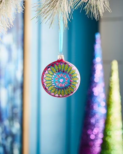 Playful Brights Collection Matte Pink/Floral Medallion Ornament