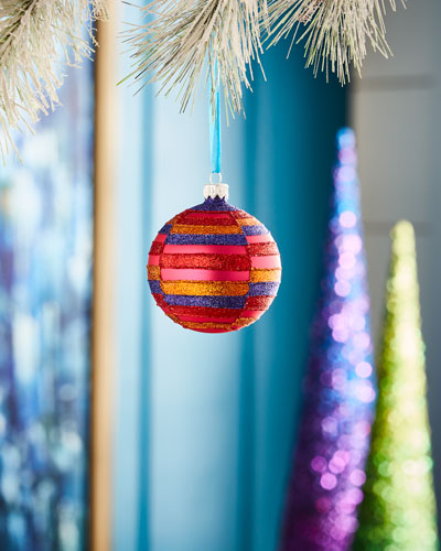 Playful Brights Collection Matte Pink/Stripe Ornament