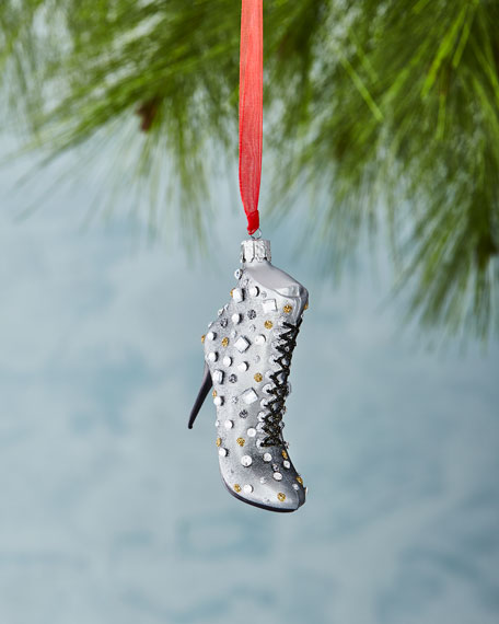 Christborn Wegner Gray Boot with Faux Jewels Ornament