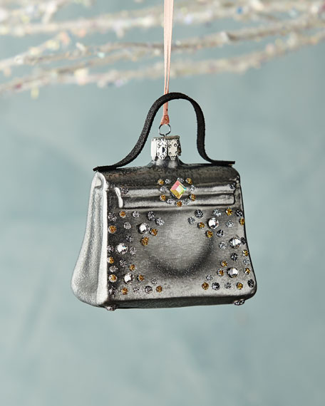 Christborn Wegner Gray Handbag with Faux Jewels Ornament