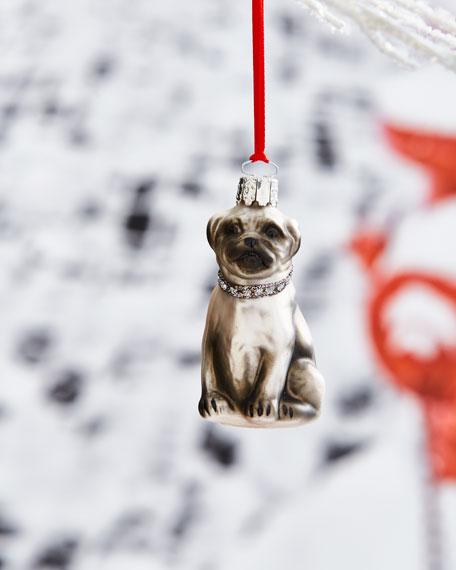 Christborn Wegner Pug with Rhinestone Collar Ornament
