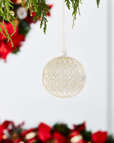 White & Silver Collection Clear/Glitter Tile Ornament