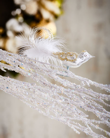 White & Silver Collection White Bird Ornament