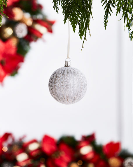 White & Silver Collection Silvery/Knit-Pattern Ornament