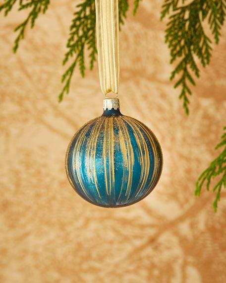 Dark Turquoise/Golden Stripe Christmas Ornament