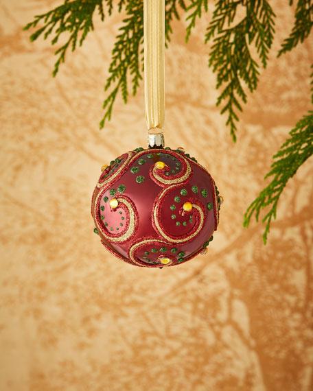 Shiny Burgundy/Swirl Ornament