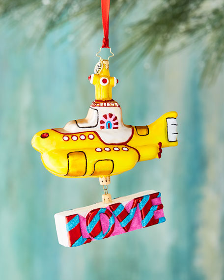 Christopher Radko Beatles Yellow Submarine Ornament with Love