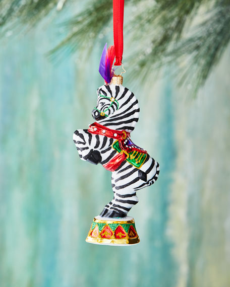 Christopher Radko Zebra Zinger Christmas Ornament