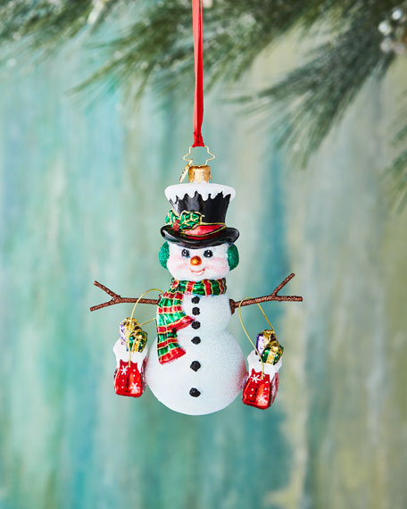 Christopher Radko Shopping Spree Snowman Christmas Ornament