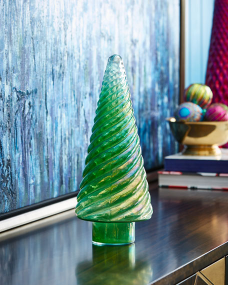Opalescent Aqua Tree, 8""