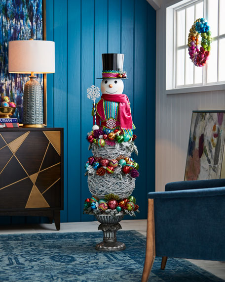 Playful Brights Collection Snowman Topiary, 57""