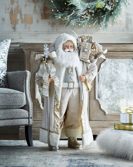 White & Silver Collection Christmas Santa, 36""