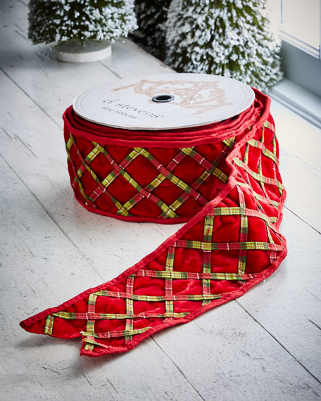 Red & Green Collection Red Velvet/Plaid Wired Trellis, 10 Yards