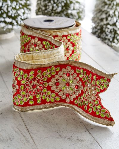 Red & Green Collection Floral Wired Ribbon, 5 Yards