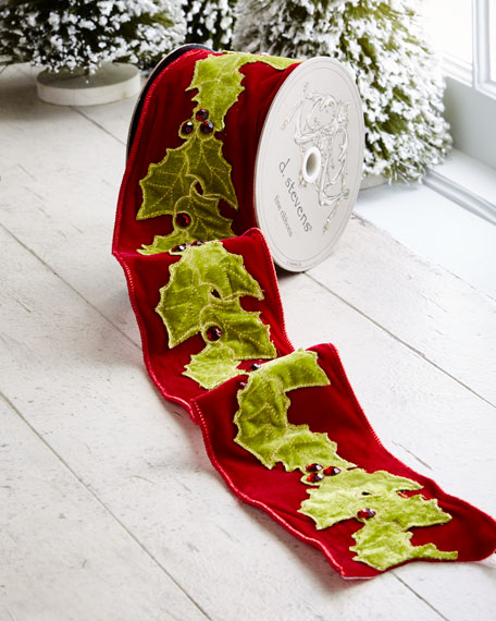 Red & Green Collection Red Velvet/Holly Wired Ribbon, 5 Yards
