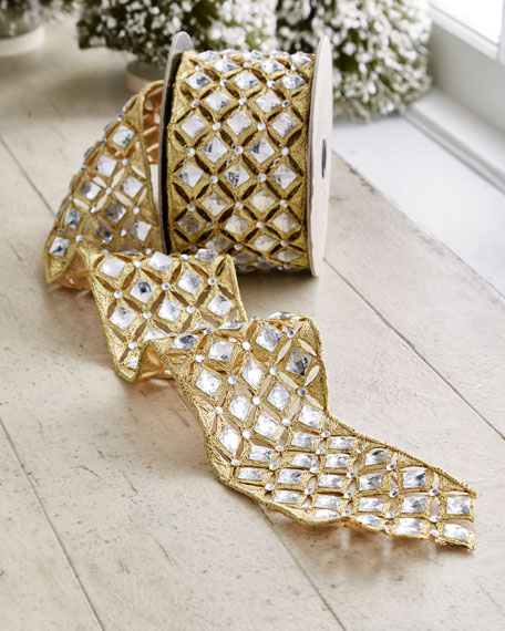 D. Stevens Gold & Glitter Collection Golden Trim/Faux-Diamond