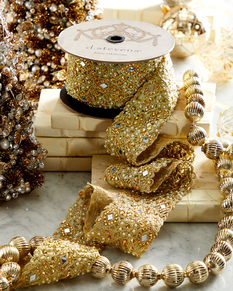 Gold & Glitter Collection Sheer Golden/Faux-Jewel Wired Ribbon