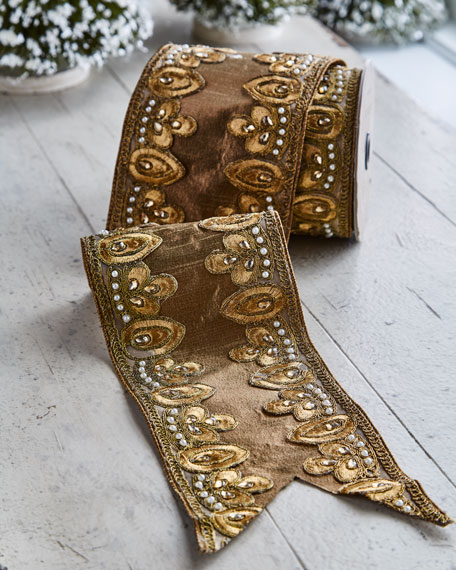 Gold & Glitter Collection Gold-Leaf Trim Wired Ribbon, 5 Yards