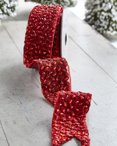 D. Stevens Metallic Doupioni/Faux-Jewel Wired Ribbon, 5 Yards