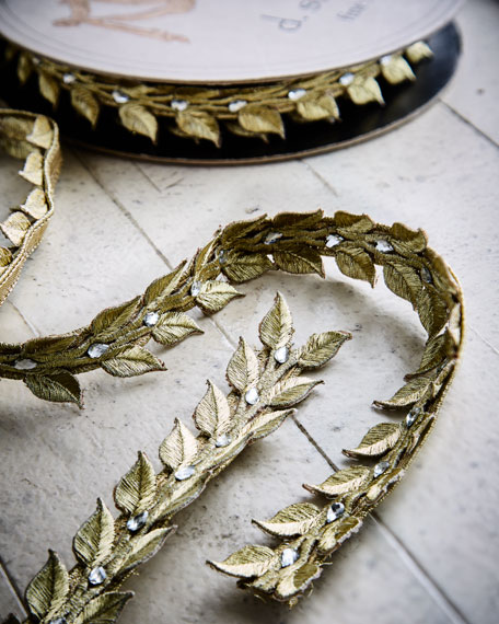 Leaf-Crystal/Faux-Jewel Ribbon