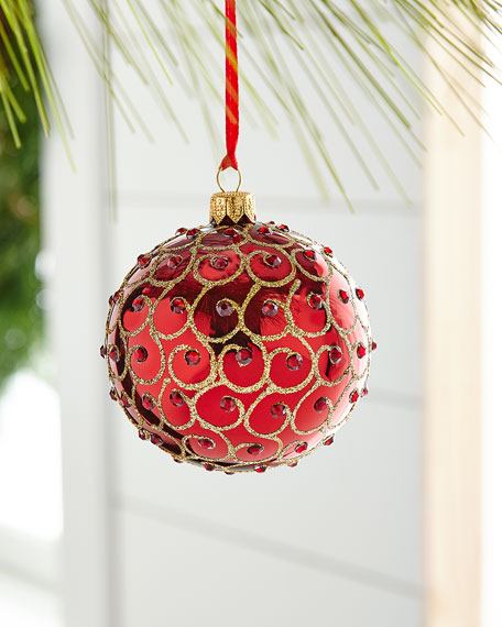 Red & Green Collection Matte Red Ornament with Swirls