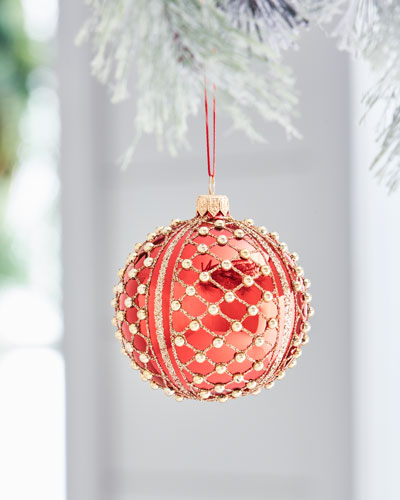 Red & Green Collection Shiny Red & Golden Crisscross Ornament