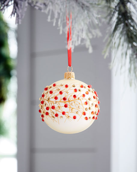 Red & Green Collection Matte Ivory & Red Bead Ornament