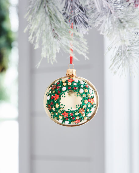 Red & Green Collection Shiny Golden & Green Wreath Ornament