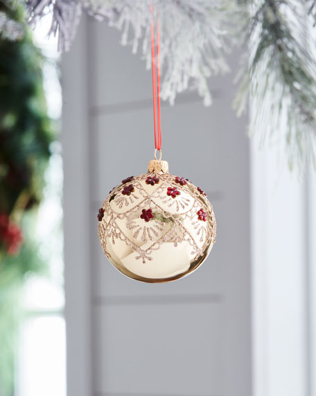Red & Green Collection Shiny Golden & Red Stone Ornament
