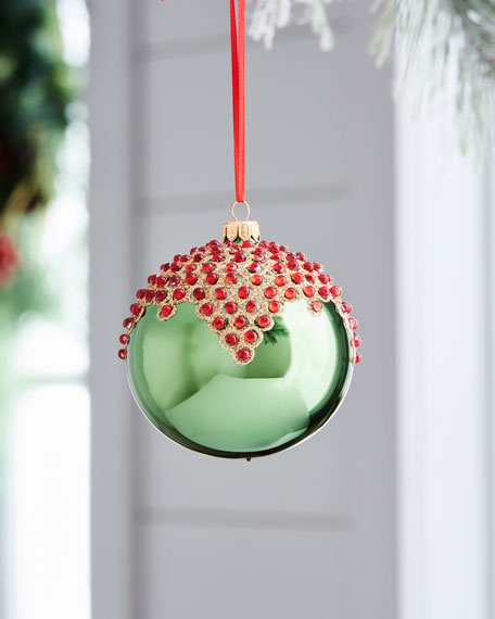 Red & Green Collection Shiny Green & Red-Cluster Ornament