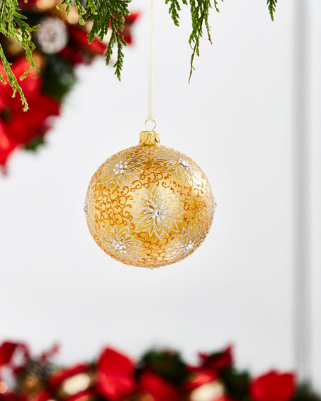 Gold & Glitter Collection Golden with Flowers Ornament