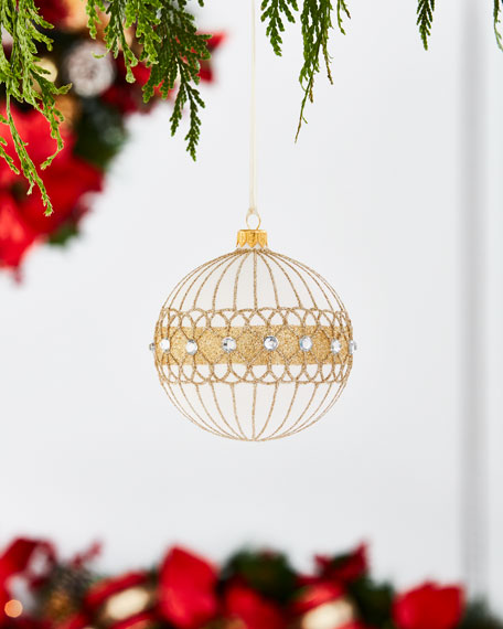 Gold & Glitter Collection Chunky Silvery Glitter Ornament