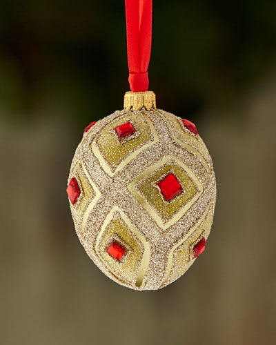 Gold & Glitter Collection Matte Golden Egg with Beads Ornament