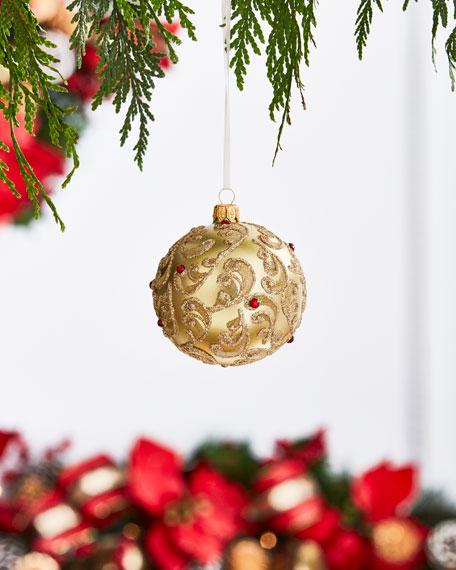 Gold & Glitter Collection Golden Glitter Damask Ornament